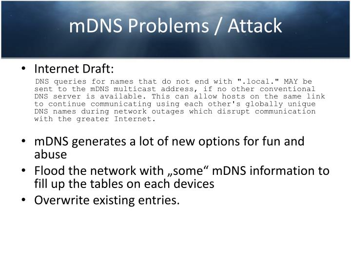 mDNS Problems / Attack