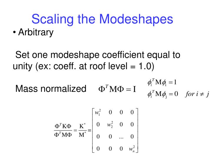 Scaling the Modeshapes