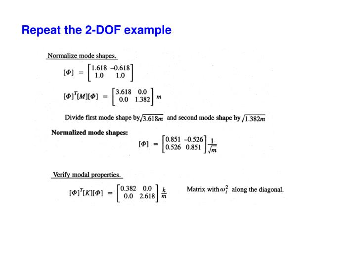 Repeat the 2-DOF example