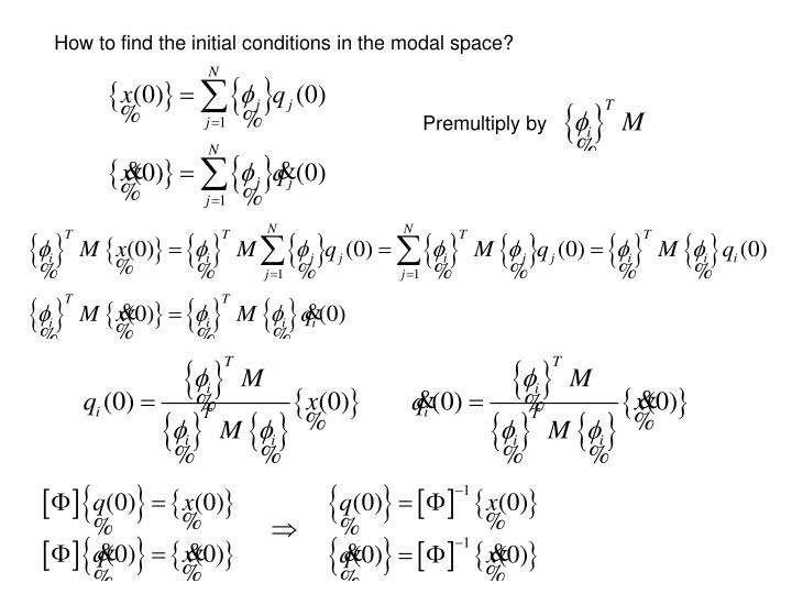 How to find the initial conditions in the modal space?