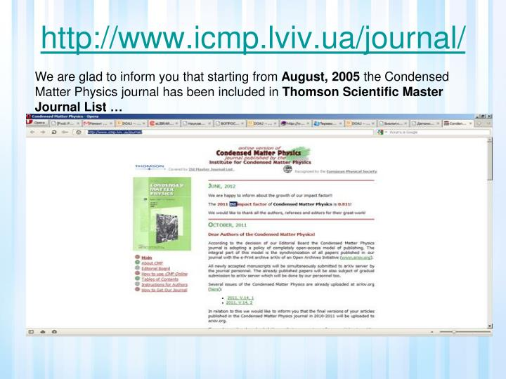 http://www.icmp.lviv.ua/journal/