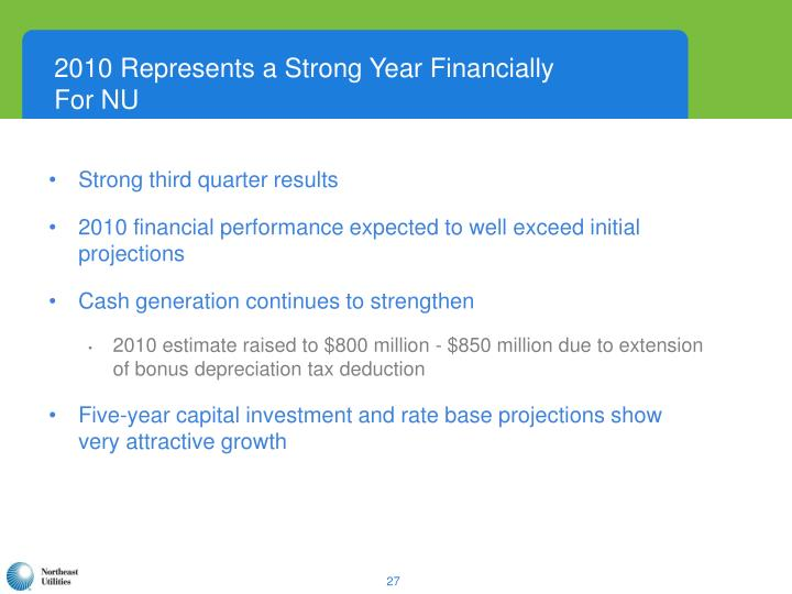 2010 Represents a Strong Year Financially For NU