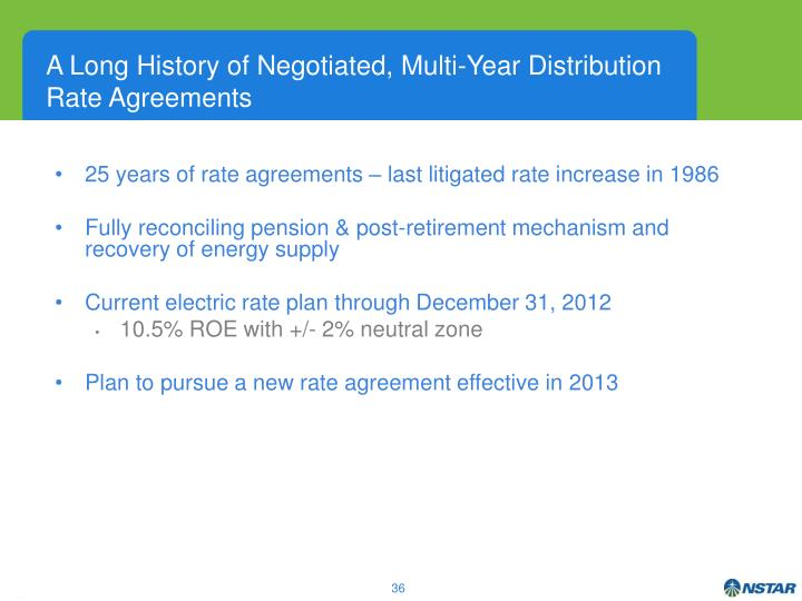 A Long History of Negotiated, Multi-Year Distribution Rate Agreements