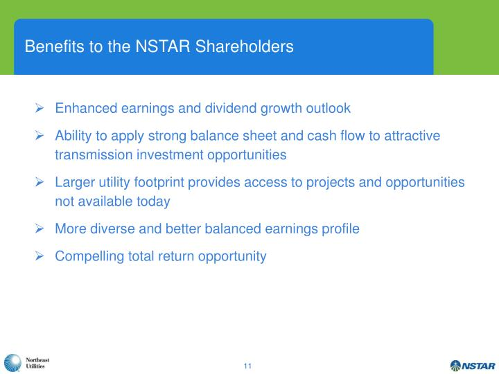 Benefits to the NSTAR Shareholders