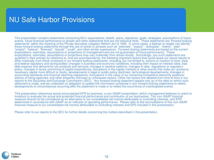 NU Safe Harbor Provisions