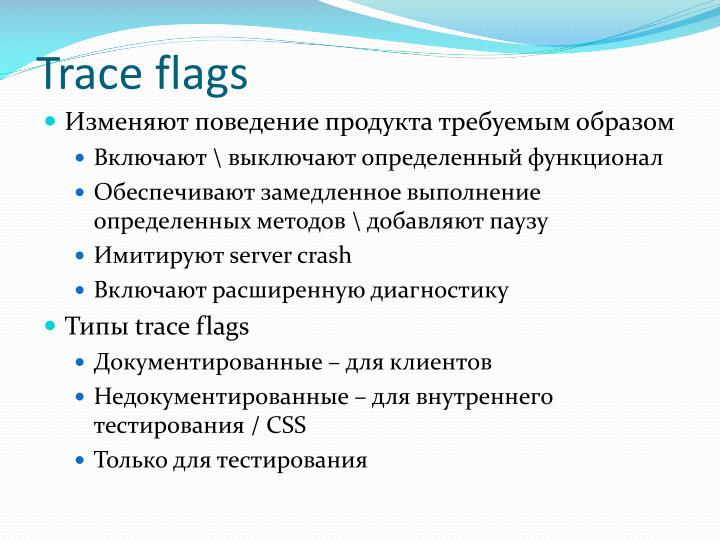 Trace flags