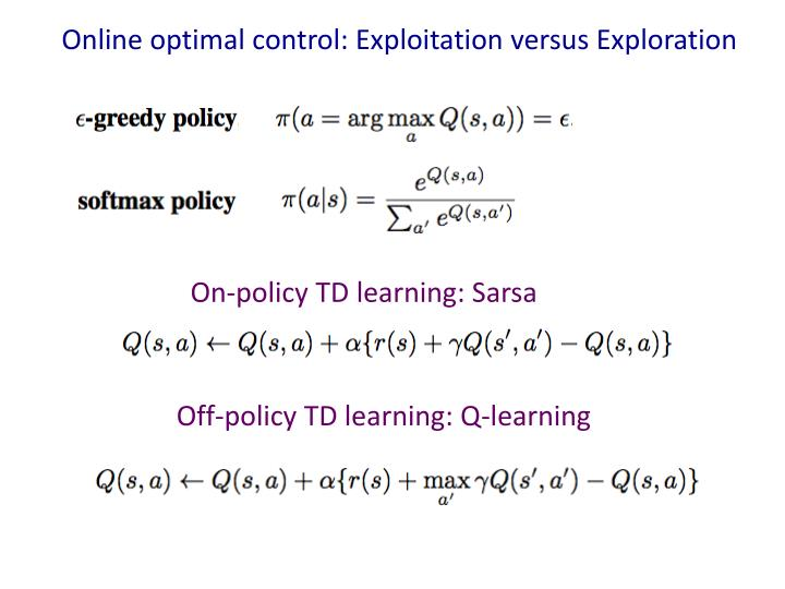 Online optimal control: Exploitation versus Exploration
