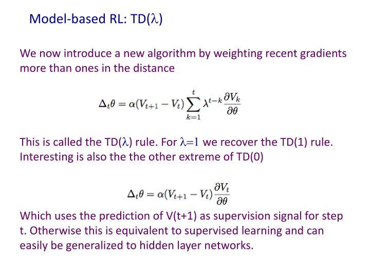 Model-based RL: TD(