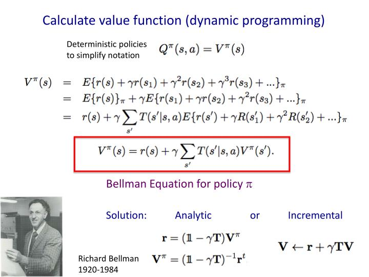 Calculate value function (dynamic programming)