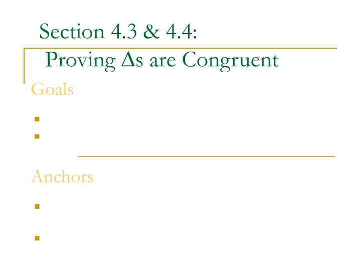 Section 4.3 & 4.4: