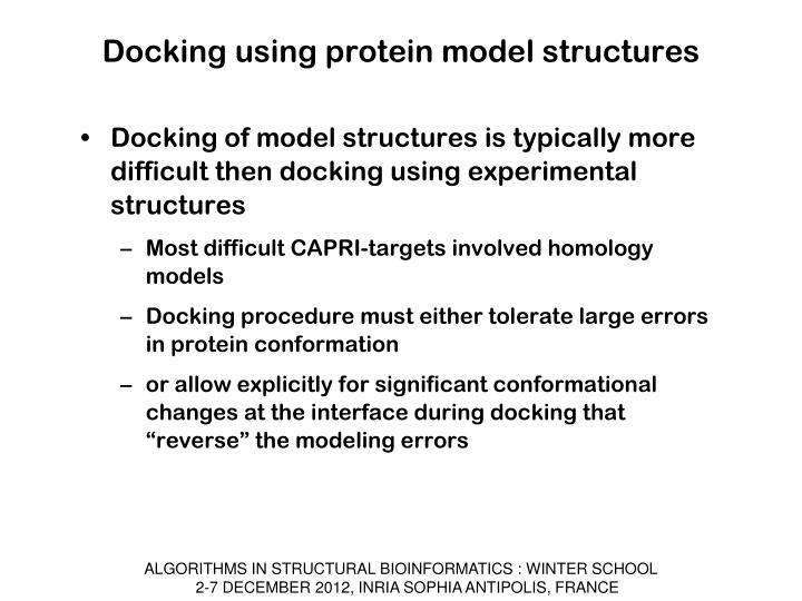 Docking using protein model structures