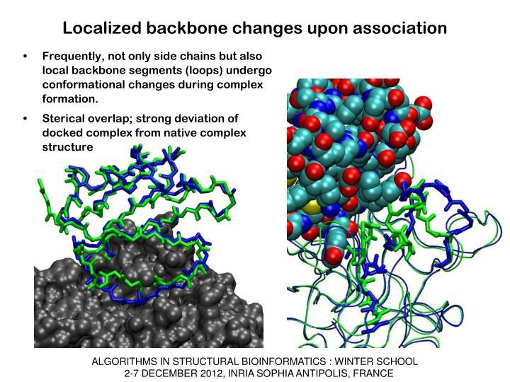 Localized backbone changes upon association