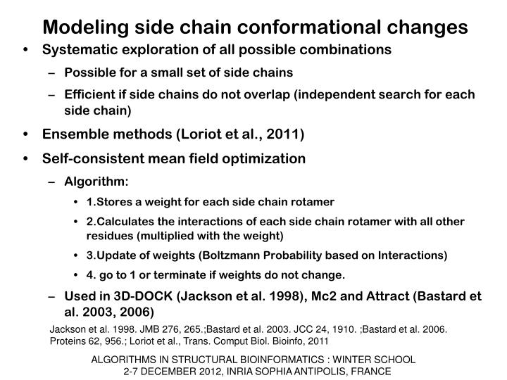 Modeling side chain conformational changes