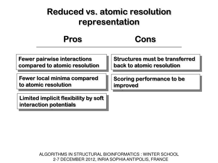 Reduced vs. atomic resolution representation