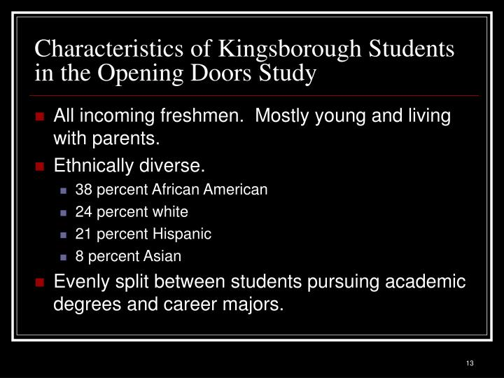 Characteristics of Kingsborough Students in the Opening Doors Study
