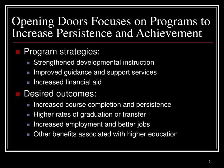 Opening Doors Focuses on Programs to