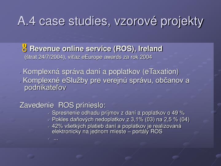 A.4 case studies, vzorové projekty