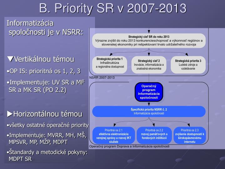 B. Priority SR v 2007-2013
