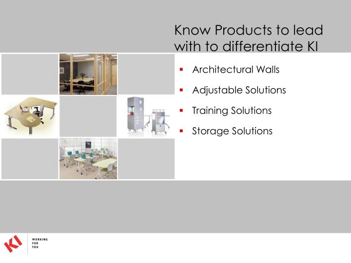 Know Products to lead with to differentiate KI
