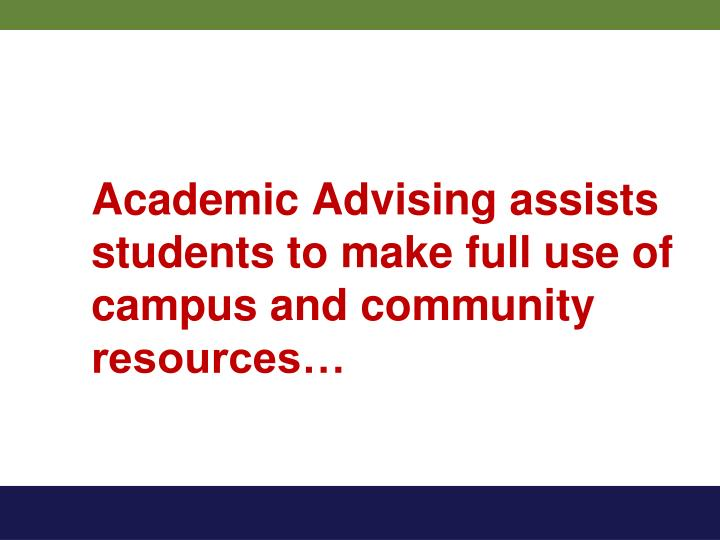 Academic Advising assists students to make full use of campus and community resources…