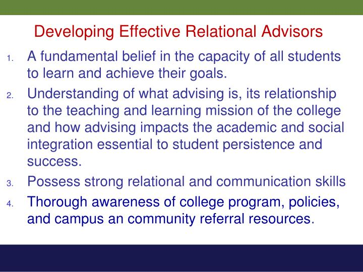 Developing Effective Relational Advisors
