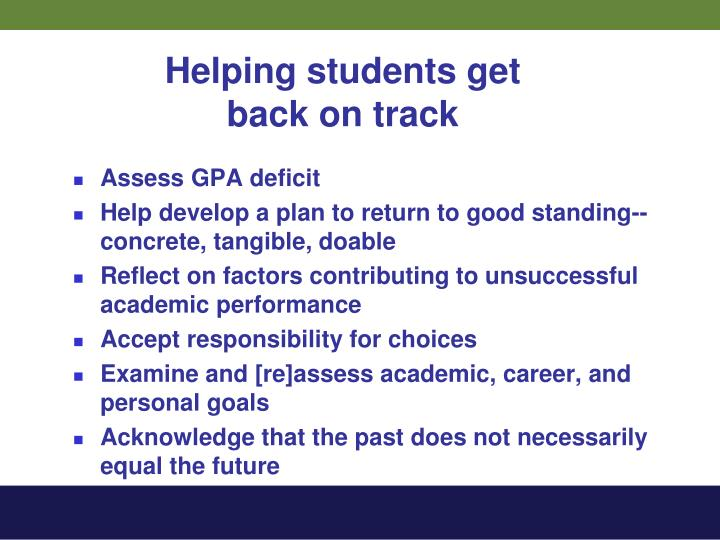 Helping students get