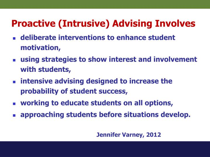 Proactive (Intrusive) Advising Involves