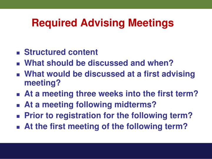 Required Advising Meetings