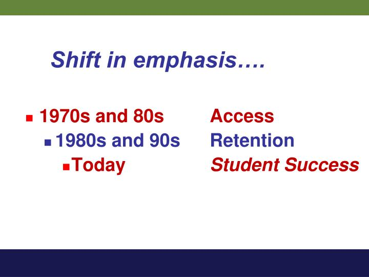 Shift in emphasis….