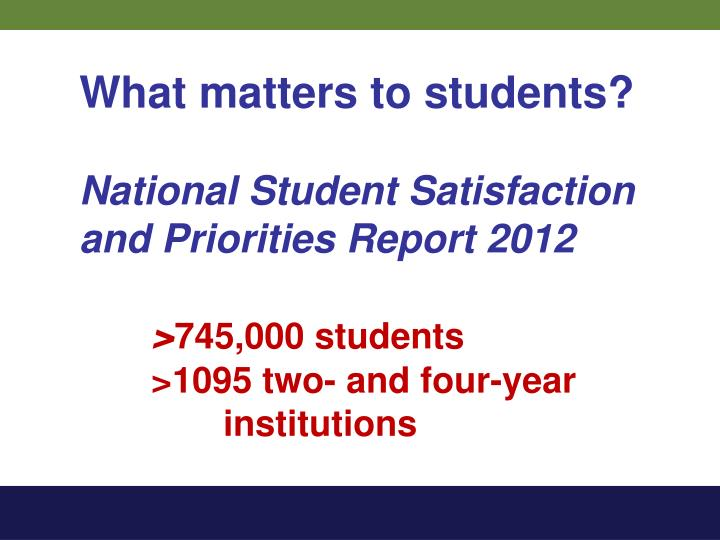 What matters to students?