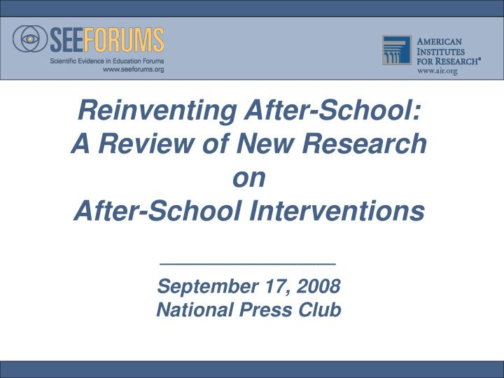 Reinventing After-School: