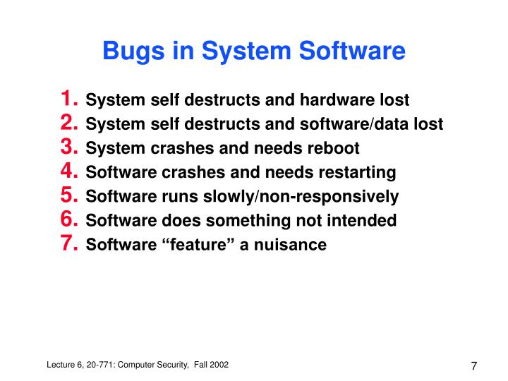 Bugs in System Software