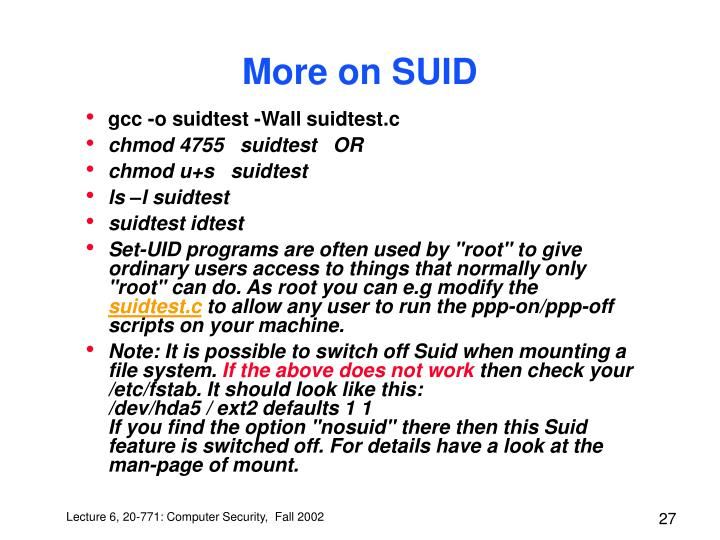 More on SUID
