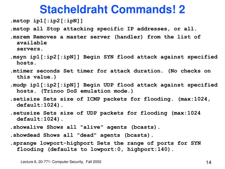 Stacheldraht Commands! 2
