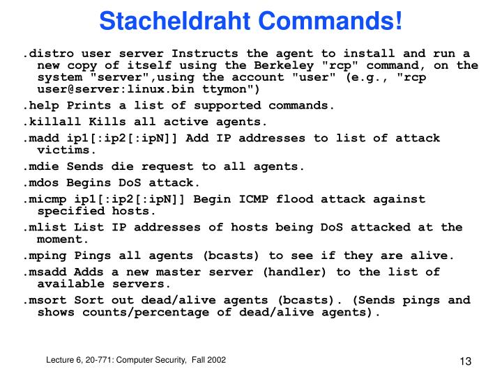 Stacheldraht Commands!