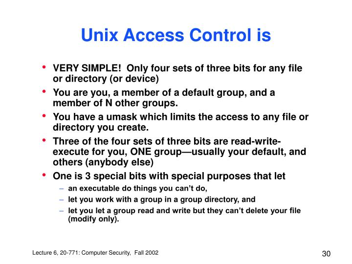 Unix Access Control is