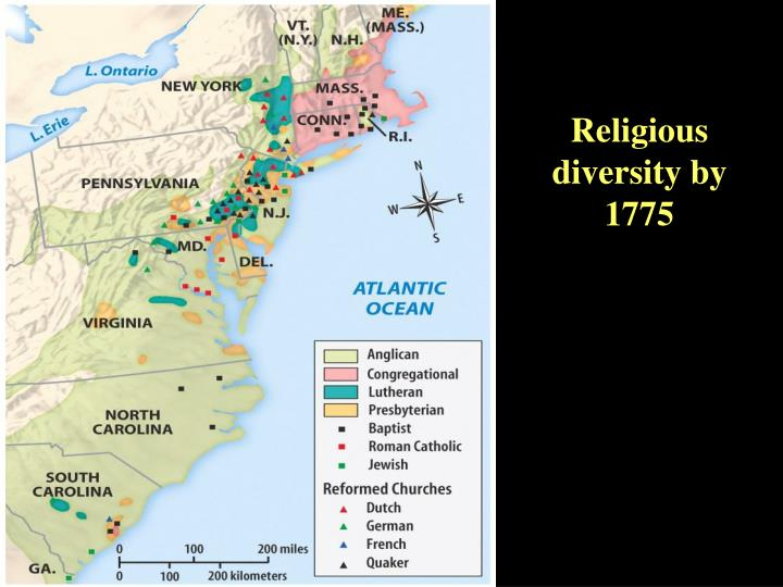 Religious diversity by 1775