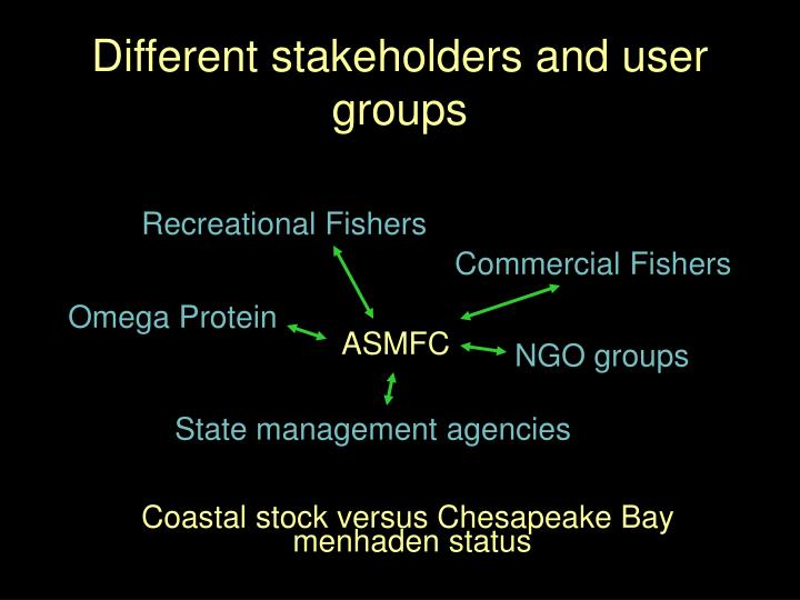 Different stakeholders and user groups