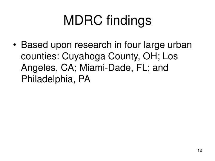 MDRC findings
