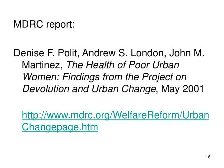 MDRC report:
