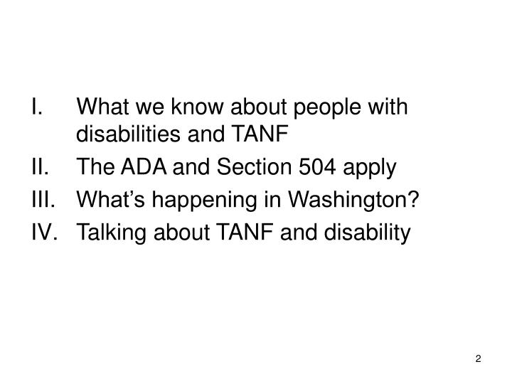 What we know about people with disabilities and TANF