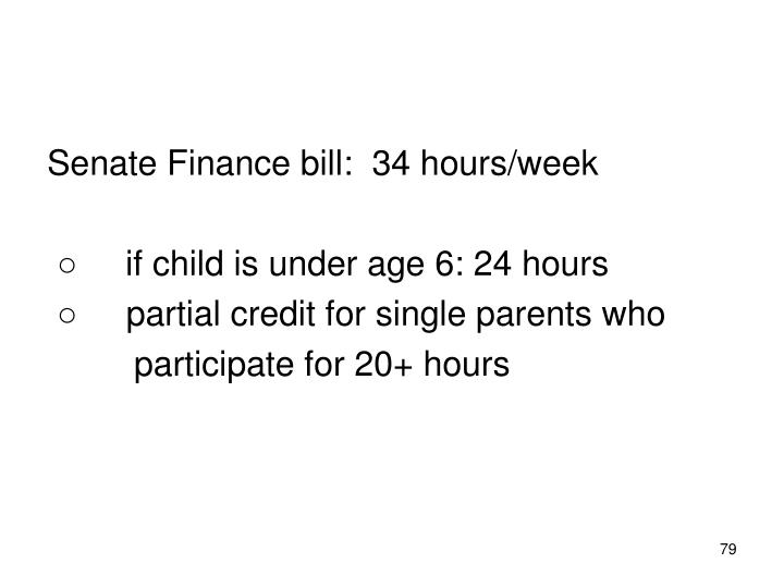 Senate Finance bill:  34 hours/week
