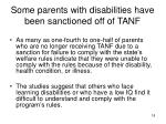 some parents with disabilities have been sanctioned off of tanf