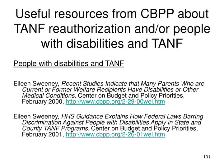 Useful resources from CBPP about TANF reauthorization and/or people with disabilities and TANF