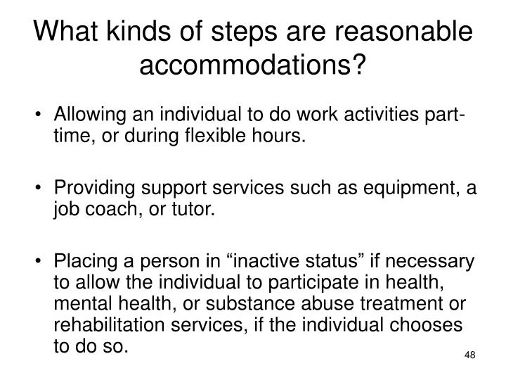 What kinds of steps are reasonable accommodations?