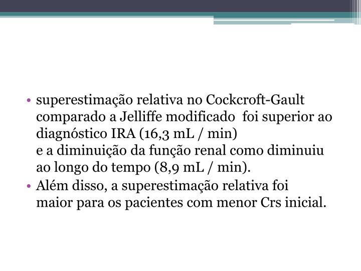 superestimação relativa no Cockcroft-Gault comparado a Jelliffe modificado  foi superior ao diagnóstico IRA (16,3 mL / min)