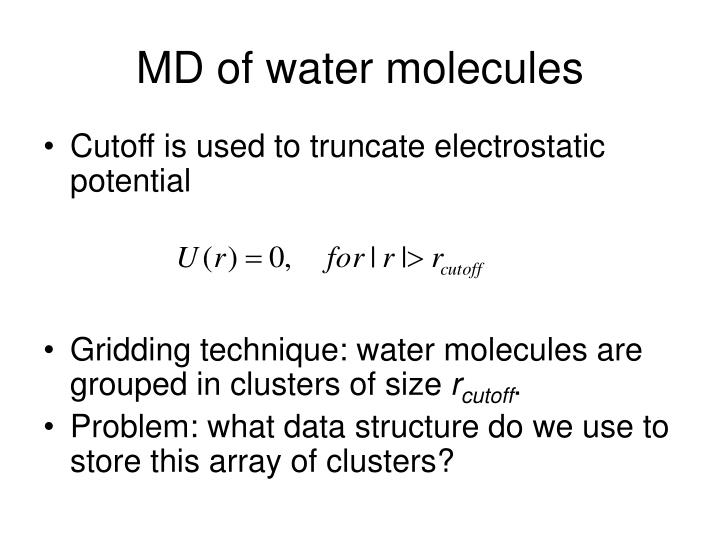 Md of water molecules