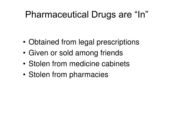 "Pharmaceutical Drugs are ""In"""