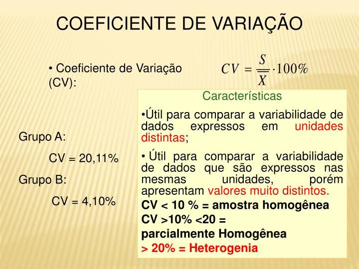 Coeficiente de Variação (CV):