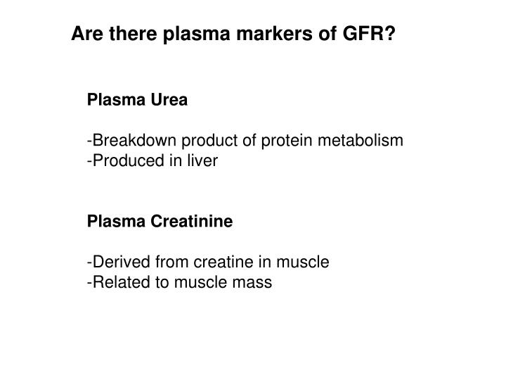 Are there plasma markers of GFR?